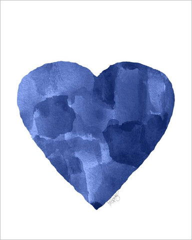 navy blue abstract heart painting- art print