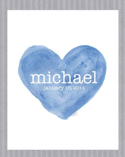 blue heart print for boys-personalized with name and birth date