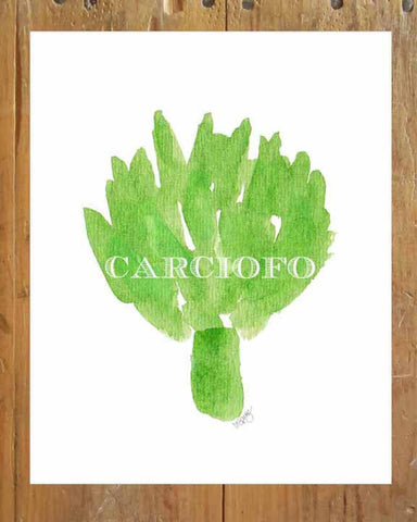 artichoke watercolor kitchen art print