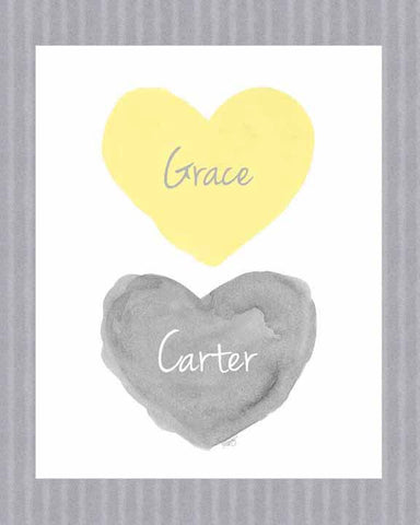 twins nursery art print-hearts in yellow and gray