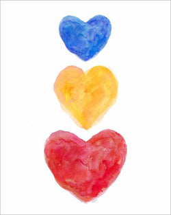 primary colors hearts-kids art print