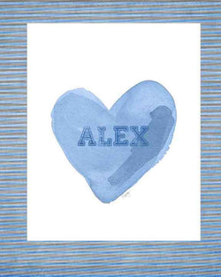 Boys sports heart art print personalized with name