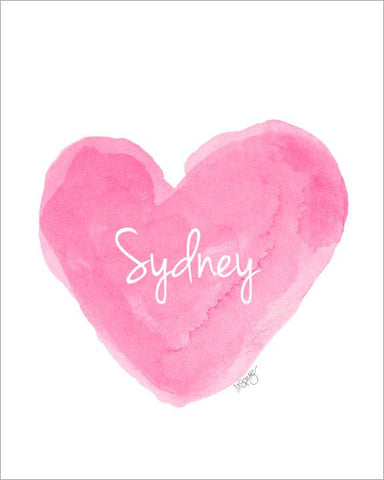 hot pink watercolor heart art print personalized with name