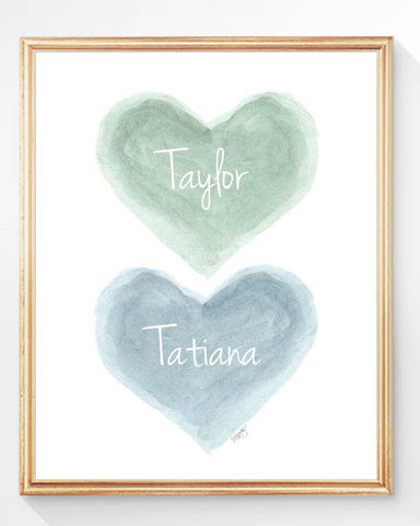 twins nursery art print-hearts in blue and green