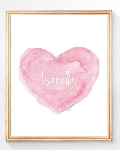 Classic pink heart art print personalized with name