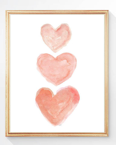 coral hearts nursery art print