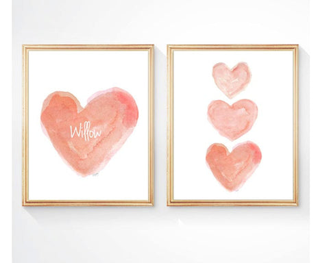 coral hearts nursery art-personalized set of 2 prints