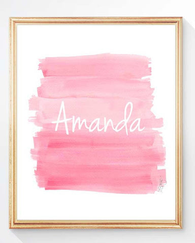 pink ombre watercolor wall decor for girls personalized with name