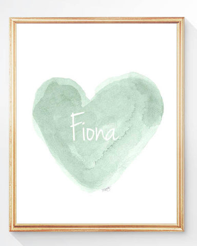 mint heart art print-personalized with name