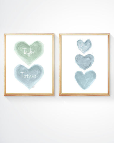 Blue and green nursery art set-personalized set of 2 prints