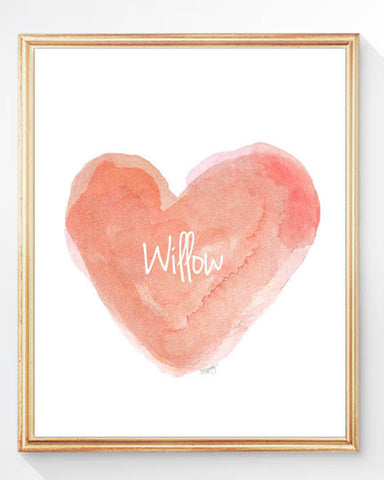 coral watercolor heart art print-personalized with name
