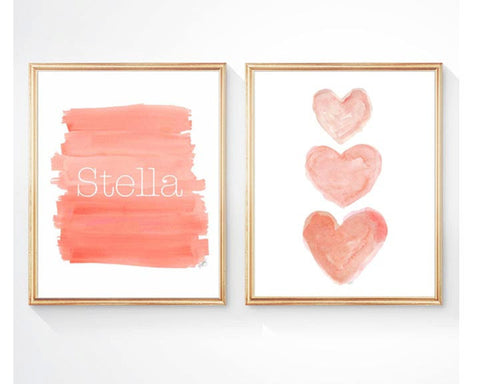 coral ombre and and heart personalized art prints-set of 2