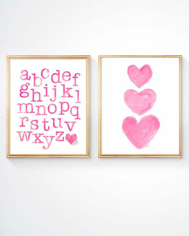 hot pink abc and hearts kids prints
