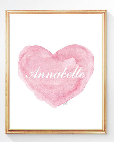 personalized pink heart art print with script font