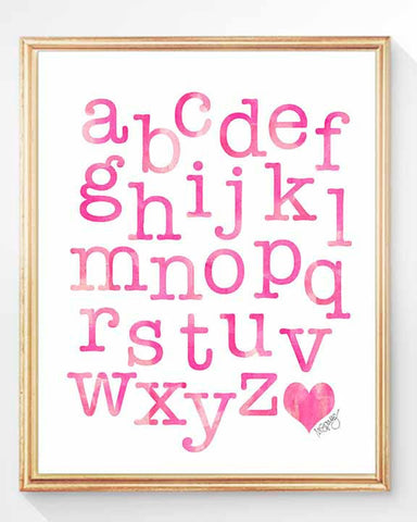 abc print for kids in hot pink