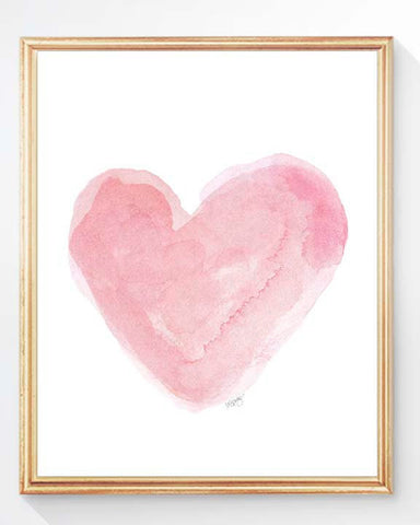 pale pink watercolor heart print