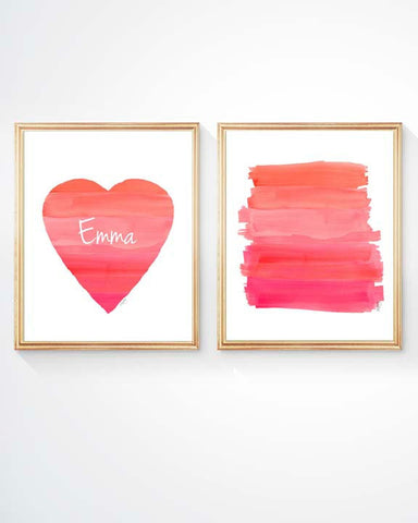 hot pink and coral ombre art prints-personalized set of 2