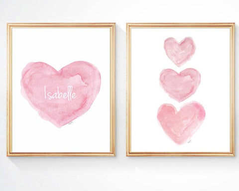 Pink watercolor hearts nursery art-set of 2 personalized with name