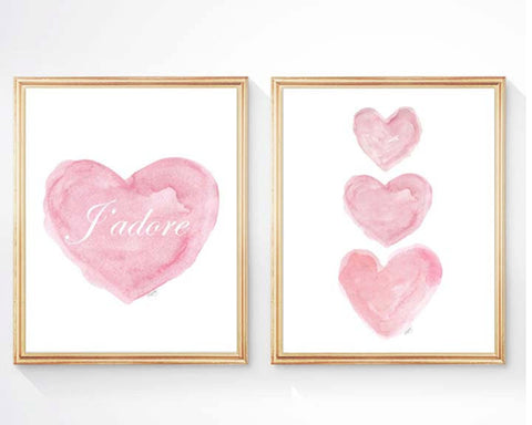 pink hearts art print with j'adore-set of 2