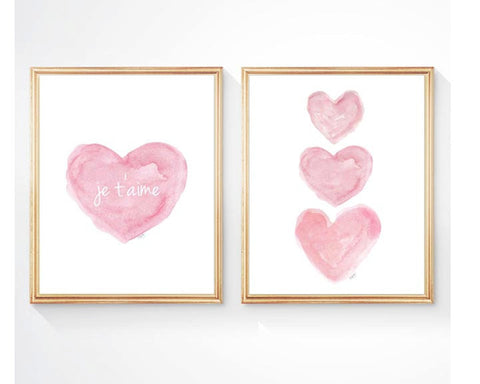 je t'aime pink watercolor heart art print-set of 2