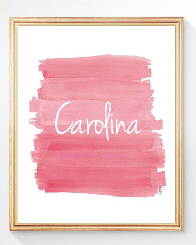 pink ombre art print for girls-personalized