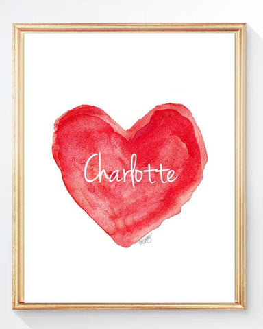 red heart print with personalized name for kids