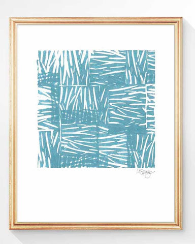 beach grass watercolor art print-aqua