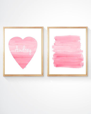 pink ombre and heart-set of 2 personalized art prints