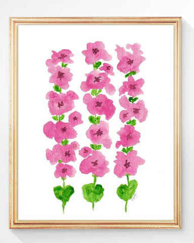 hollyhock watercolor art print in pink