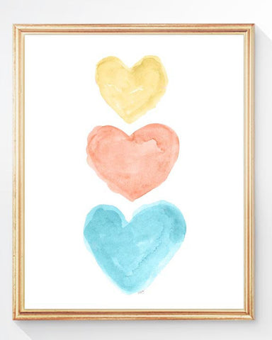 Yellow, Coral and Turquoise heart art print