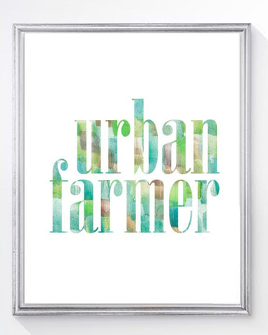 urban farmer watercolor typography art print for kitchen