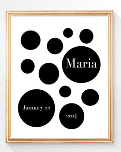 black and white personalized nursery print