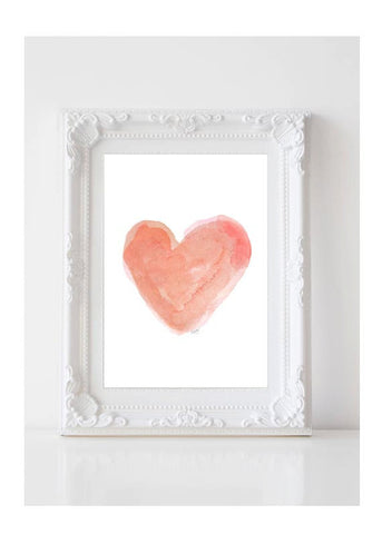coral watercolor heart art print
