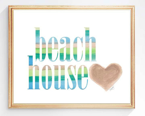 beach house sign art print