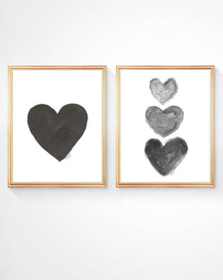set of 2 black and gray heart art prints
