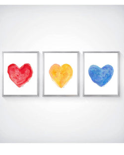 set of 3 primary color hearts for kids-art prints