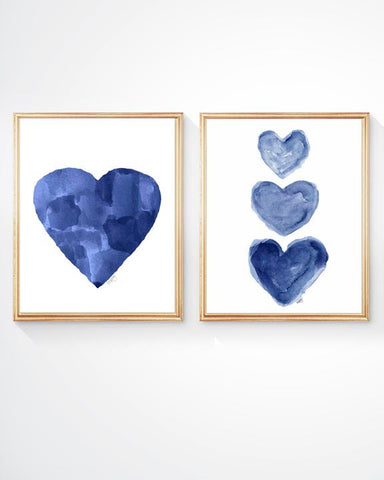 set of two navy blue heart art prints