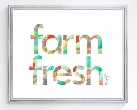 farm fresh watercolor art print for kitchen