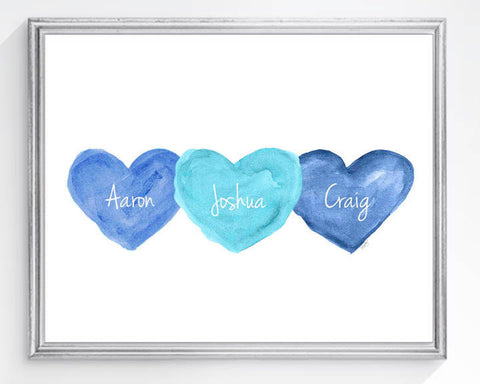 triplets personalized art print-blue and turquoise