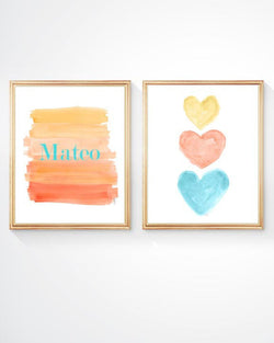 orange and turquoise kids decor- set of 2 personalized prints
