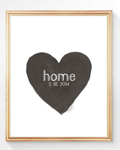new home art print in black with personalized date
