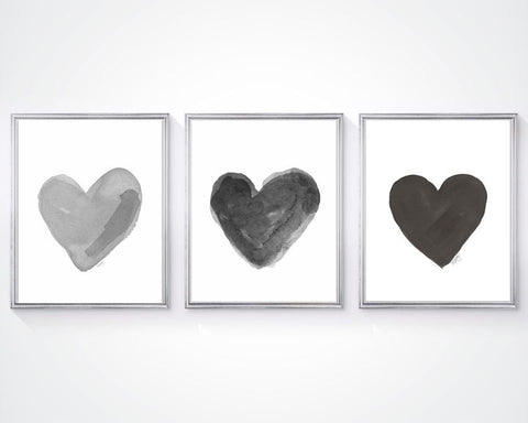 set of 3 black and gray watercolor heart art prints