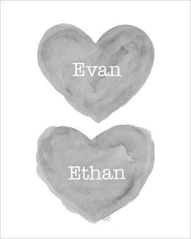 twin boys nursery art print-hearts in gray