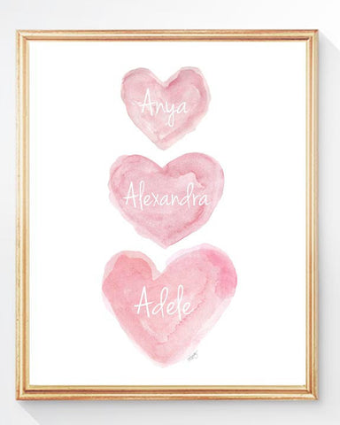 pink three sisters heart art print