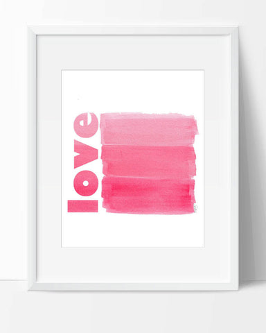 love-pink brushstrokes art print for kids