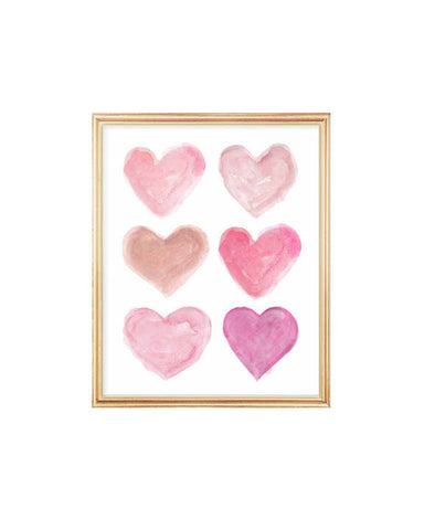 pink hearts collage art print