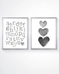 gray abc and heart art set for kids