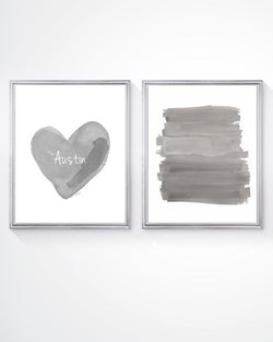 Boys wall decor- gray personalized heart-set of 2 art prints
