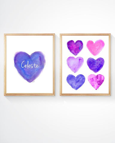 purple and hot pink hearts-personalized set of 2 prints for girls