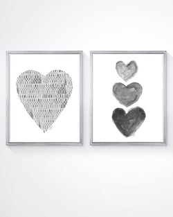 gray watercolor heart art print in lace pattern-set of 2
